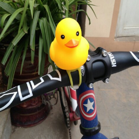 Cute Rubber Duck With Manual Bell + Safety Led MTB Bicycle Stroller Handlebar Display Light