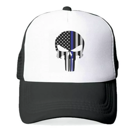 Punisher Skull Trucker Skull Baseball Cap
