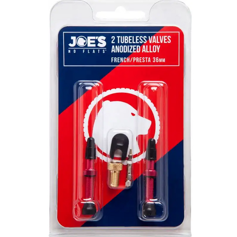 Joe's No Flats 36mm Tubeless Presta Alloy Anodized Valve Kit