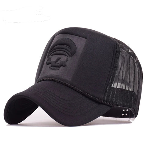 Captain Skeleton Trucker Black Mesh Baseball Cap