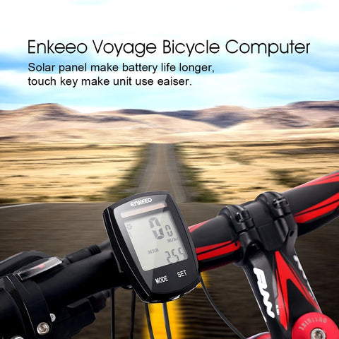 Voyager 1.0 Wireless Bike Computer Bicycle Odometer Speedometer + Embedded Solar Panel