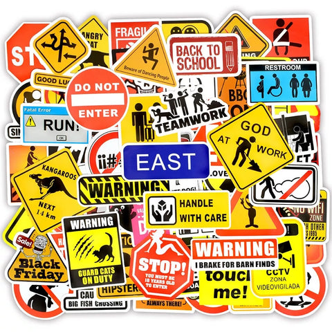100 pieces Warning Danger Sign DIY Colour Random Sticker Bomb Decals