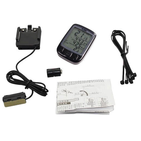 Weatherproof LCD Display Bicycle Computer Odometer Speedometer with Green Backlight