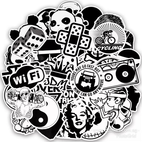 50 pieces DIY Black and White Laptop Sticker Bomb Skate Escooter Decal