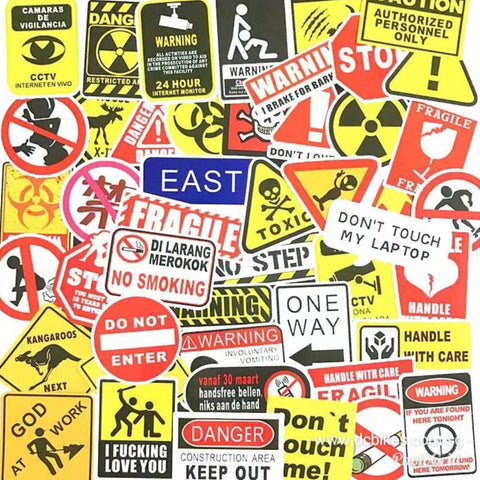 50 Pieces Fragile Warning Sign DIY Escooter Colour Random Sticker Bomb Decals