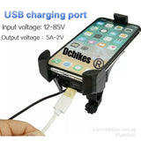 2 in 1 Escooter/Motorcycle USB Charging Port + 4''- 5.5'' Mobile Phone Hp Holder