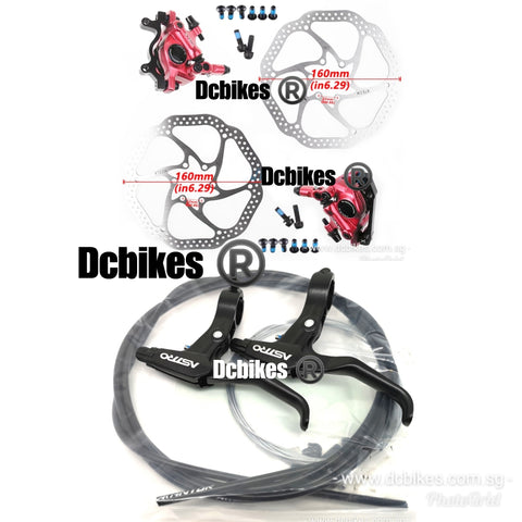 Zoom X tech X Astro Cable Actuated Hydraulic Brake Calipers + Levers + 160mm Disk MTB Escooter Bicycle Brakeset