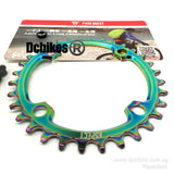 32T/34T Oil Slick 104BCD Titanium Plated MTB Narrow Wide Chain Ring