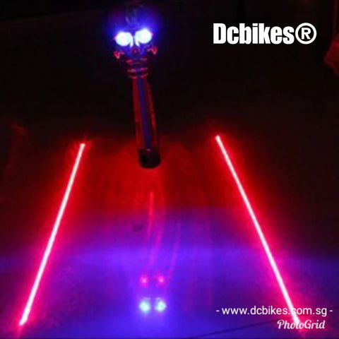 Skeleton Head Led + 2 Laser Beam Rear Tail Light Safety Lamp