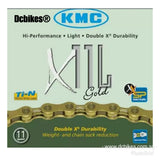 Kmc X11 L 11 Speed MTB Road Light Gold Chain + Missing Link