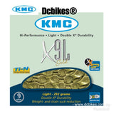 KMC X9 L Light Gold 9 Speed MTB Road Chain 116 Links + Missing Link
