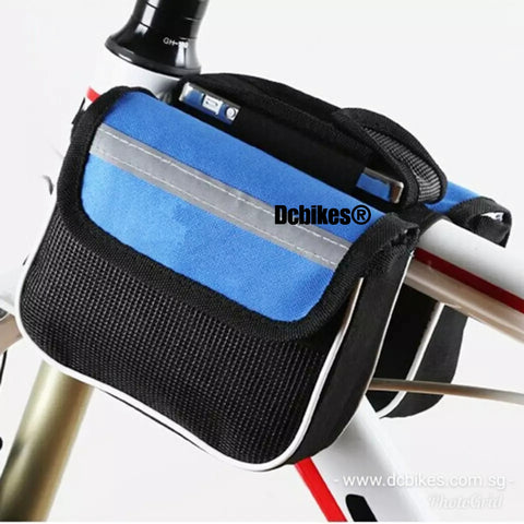 Bicycle Top Tube Frame Blue Pouch Bag