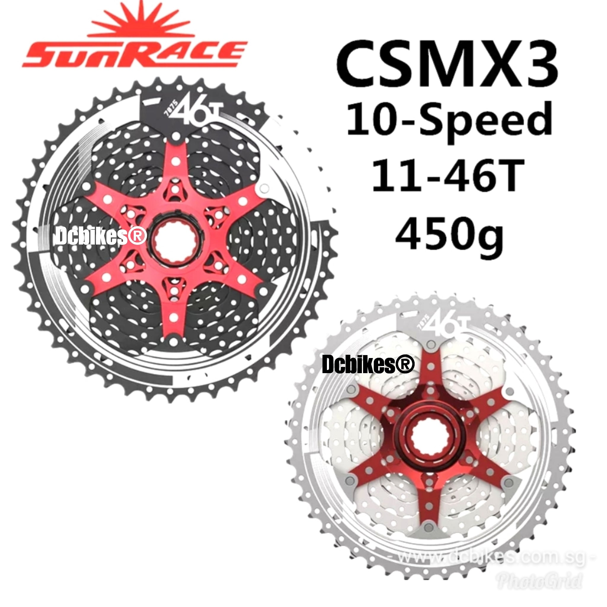 Sunrace 10-speed 11-46T cassette CSMX3 wide ratio MTB in Black with rd extender