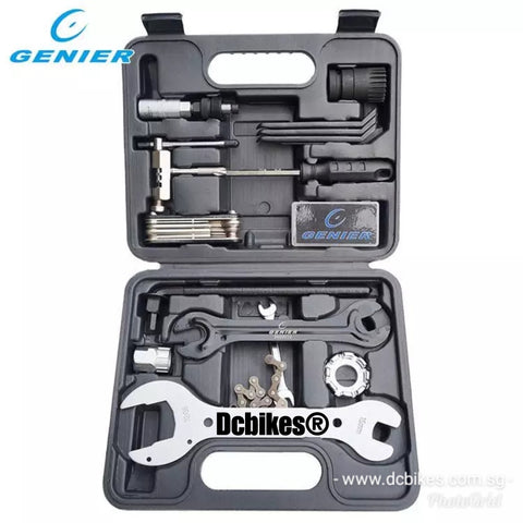 18 in 1 GENIER MTB Road Bike Square Tapered Crank Chain Tyre Spoke Etc Maintenance Tool Kit Repair Set