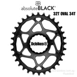 AbsoluteBLACK 32T/34T Oval Traction Cinch Chainring For Race Face Crank