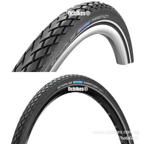 Schwalbe 16 X 1.35 Marathon Twinskin Green Guard Wired MTB Foldie Touring Tyres (2 Tires)