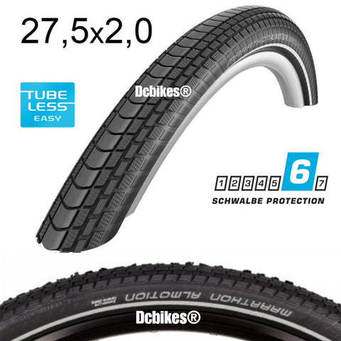 "Schwalbe 27.5 X 2.00"" Marathon Almotion SnakeSkin Evolution OneStar 650B Tubeless Ready Folding Tyres (2 Tires)"