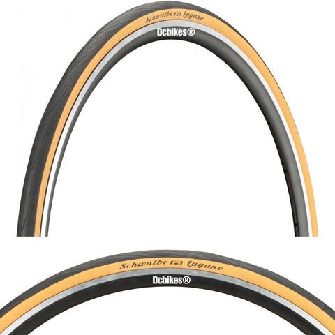 Schwalbe 700 X 25c Lugano Lite K-Guard 25-622 Classic Skinwall 28 Fixie Road Wire Tyres (2 Tires)