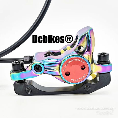 Oil Slick Chameleon 3D Rainbow Bicycle MTB Escooter Hydraulic Brakeset