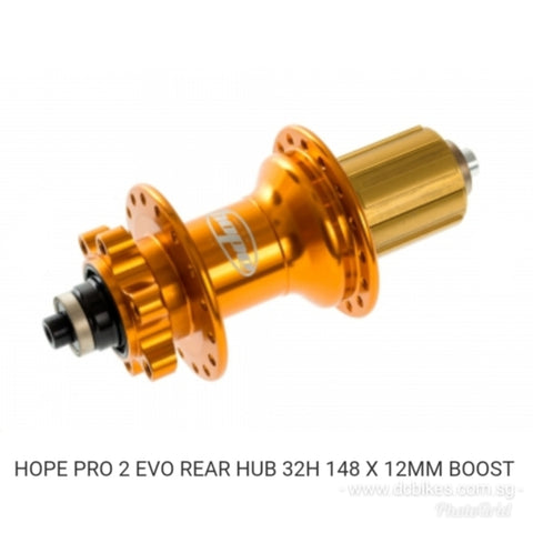 Hope Pro 2 Evo Orange REAR HUB 32H 148 X 12MM Boost Plus +