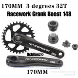 Racework Boost 148 + MTB Hollowtech Direct Mount Crank + 32T Narrow Wide Chain Ring + Bottom Bracket BB Crankset 3mm Offset