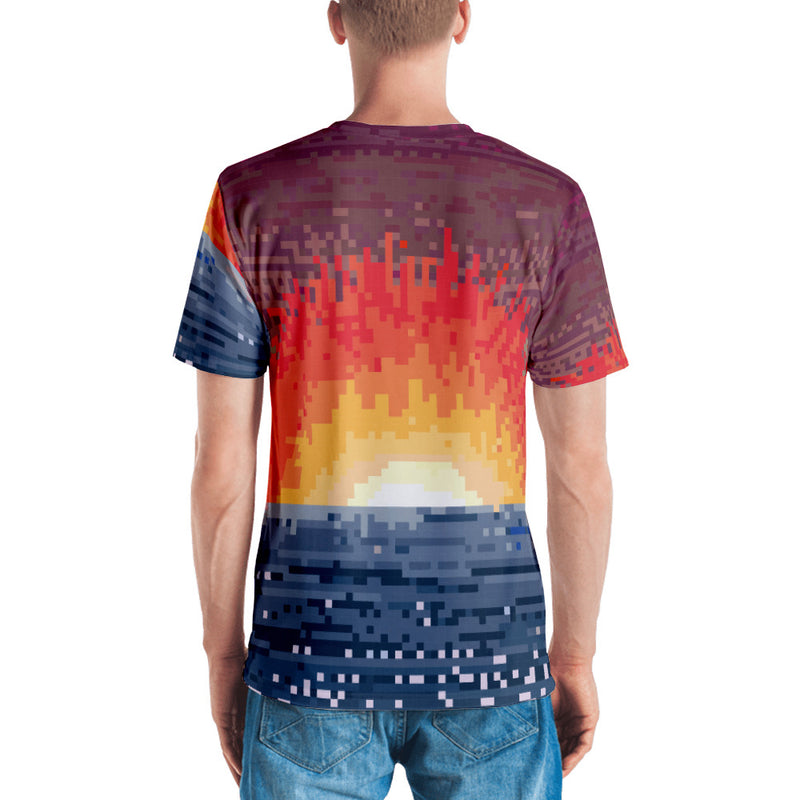 Sunset Explode All over Pixel art T-shirt
