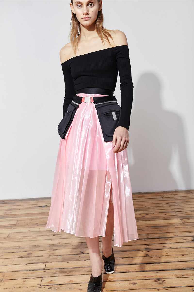 pleated organza skirt with pocket