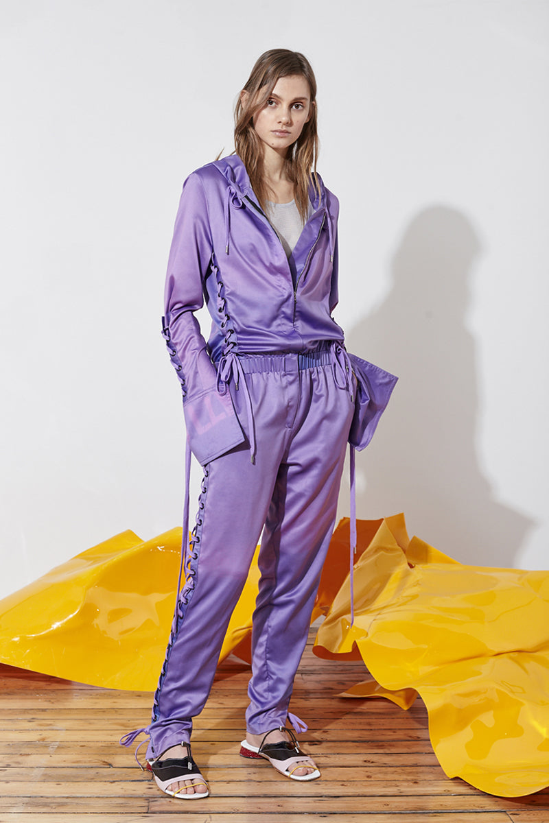 satin jumpsuit with ties
