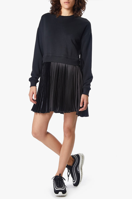 pleated sweatshirt mini dress