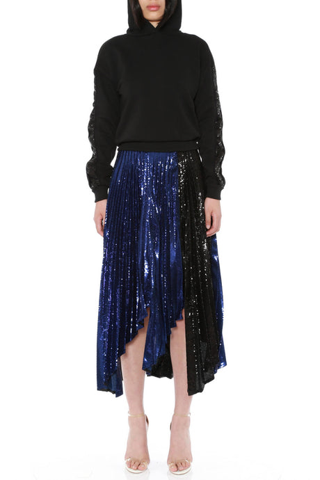 ASTEROID MIDI PLEATED SKIRT