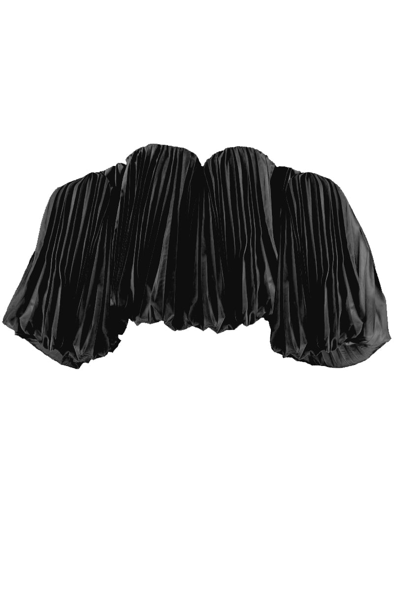 CONFECTIONS PLEAT DROP SLEEVE BLACK