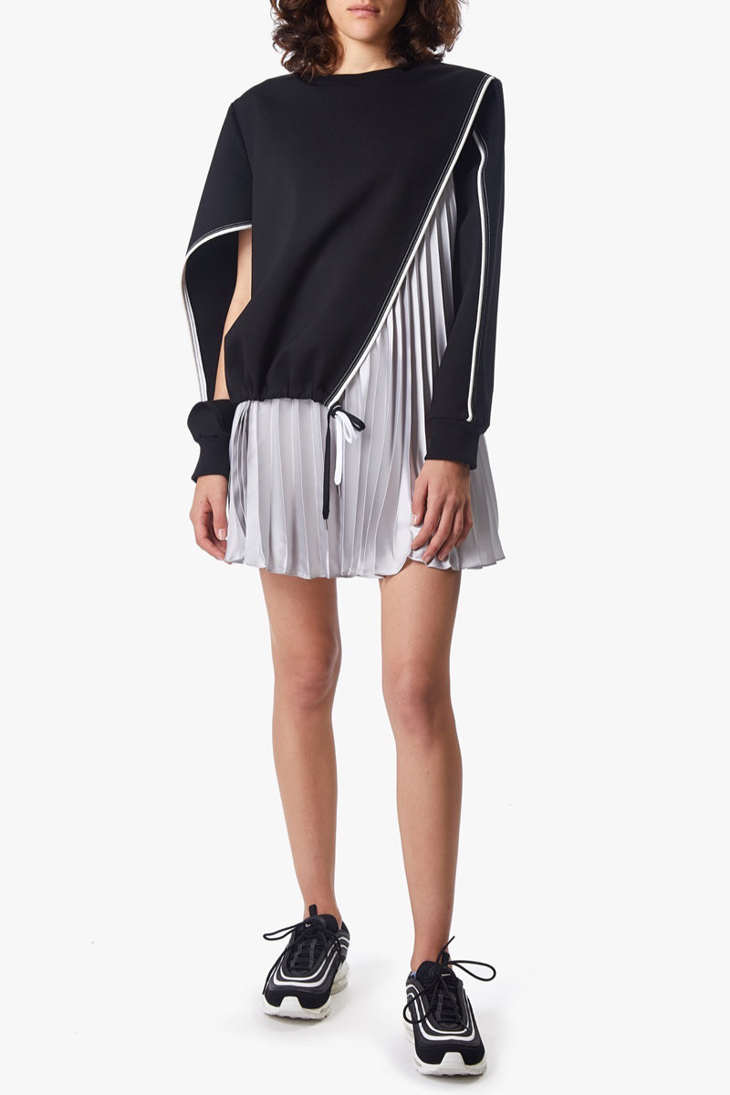 ANGULAR SWEATSHIRT PLEAT DRESS