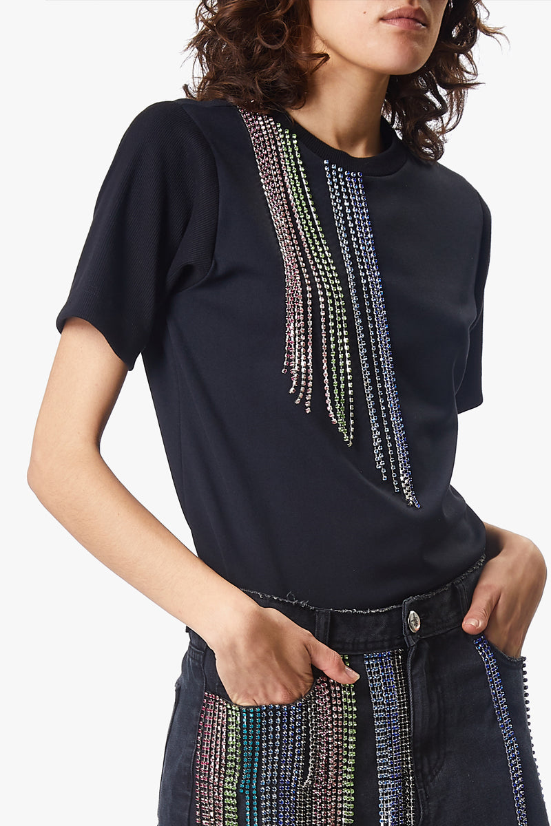 crystal tassel t-shirt