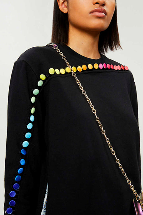 rainbow button sweatshirt