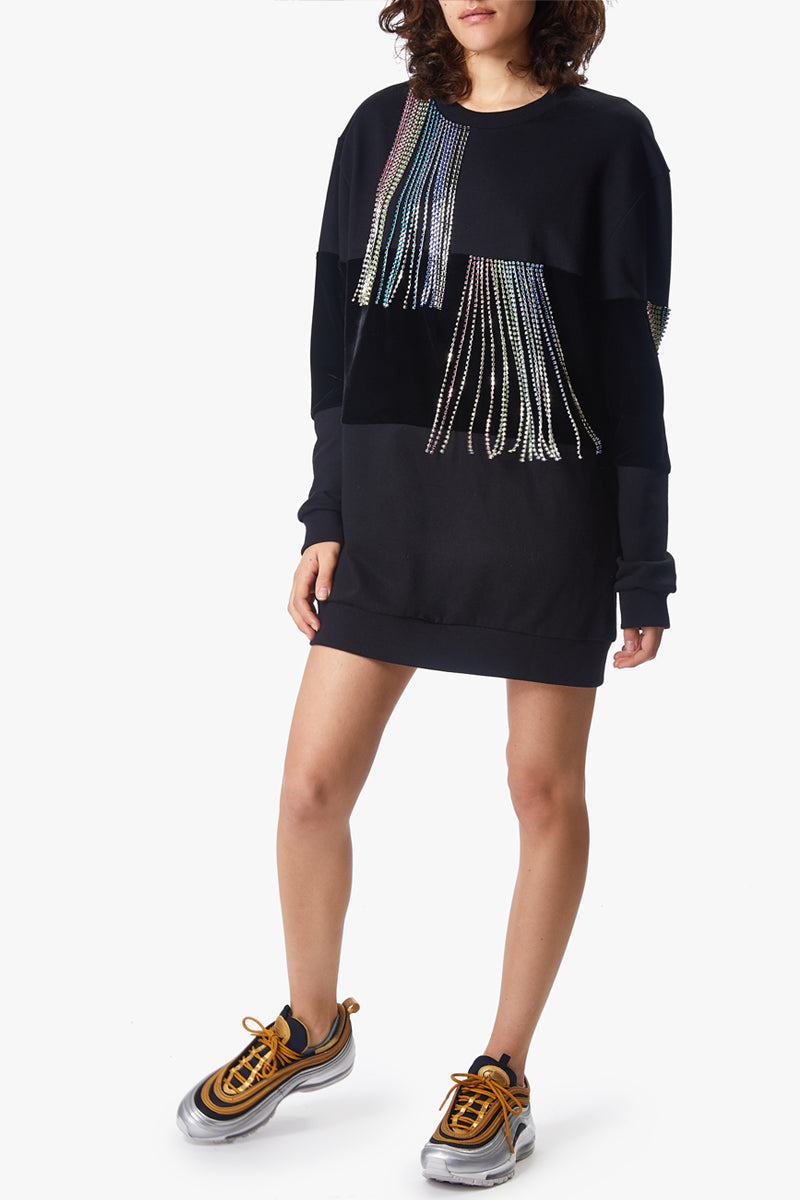 crystal tassel sweatshirt dress