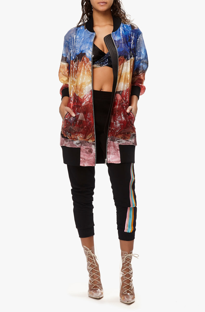 sequin long bomber
