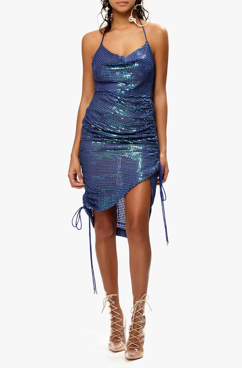 iridescent sequin slip dress