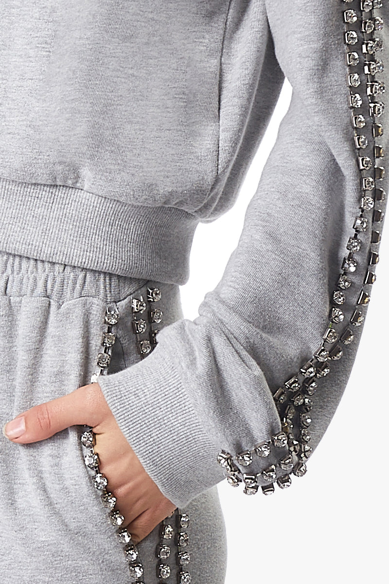 crystal edge cropped sweater
