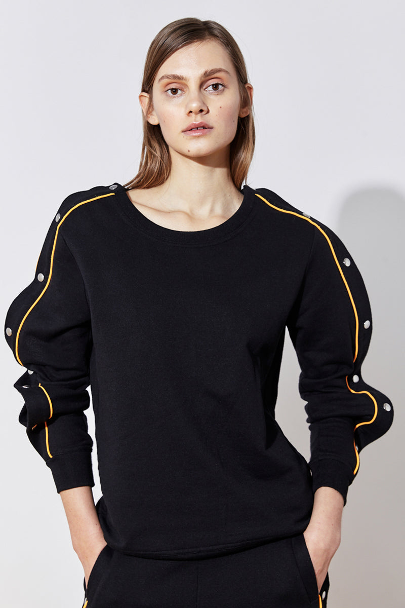 popper sleeve sweatshirt