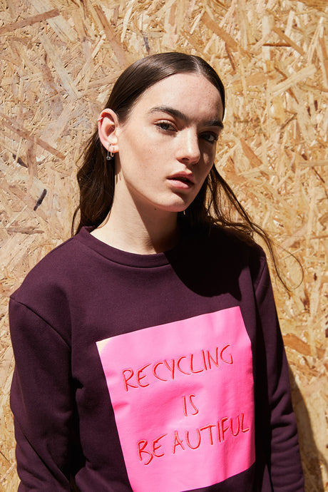 recycling is beautiful embroidered sweatshirt
