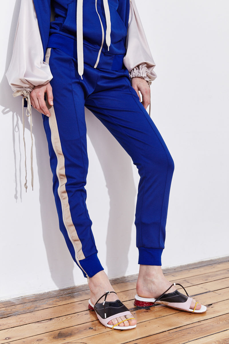 double leg zip-up track pants