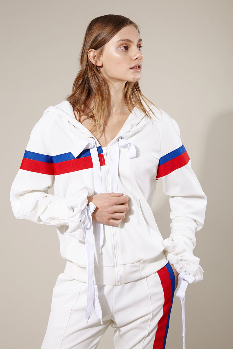 Double sleeve zip-up hoodie