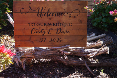 Rustic Welcome to Our Wedding Sign - Reclaimed Timber