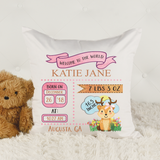 Announcing the Birth -- Personalised Cushion COVER ONLY
