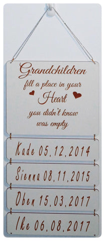 Grandchildren Drop Down Sign - White