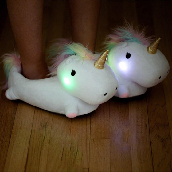 Glowing Rainbow Unicorn Slippers