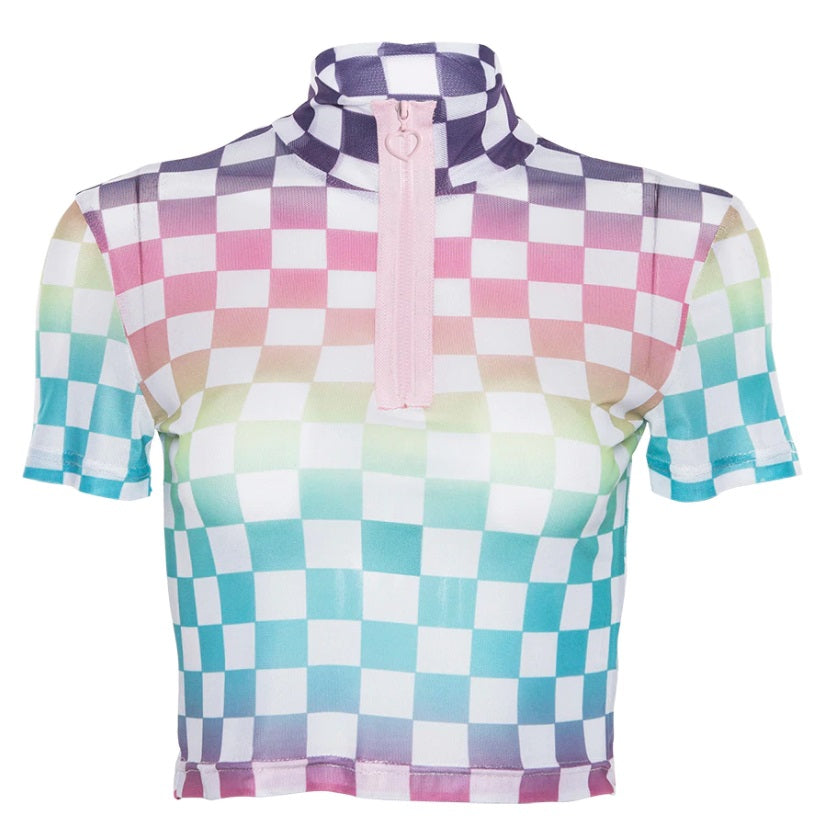 Pastel Checkered Crop Top