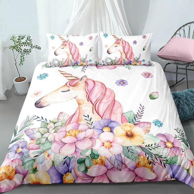Floral Unicorn Bedding Set