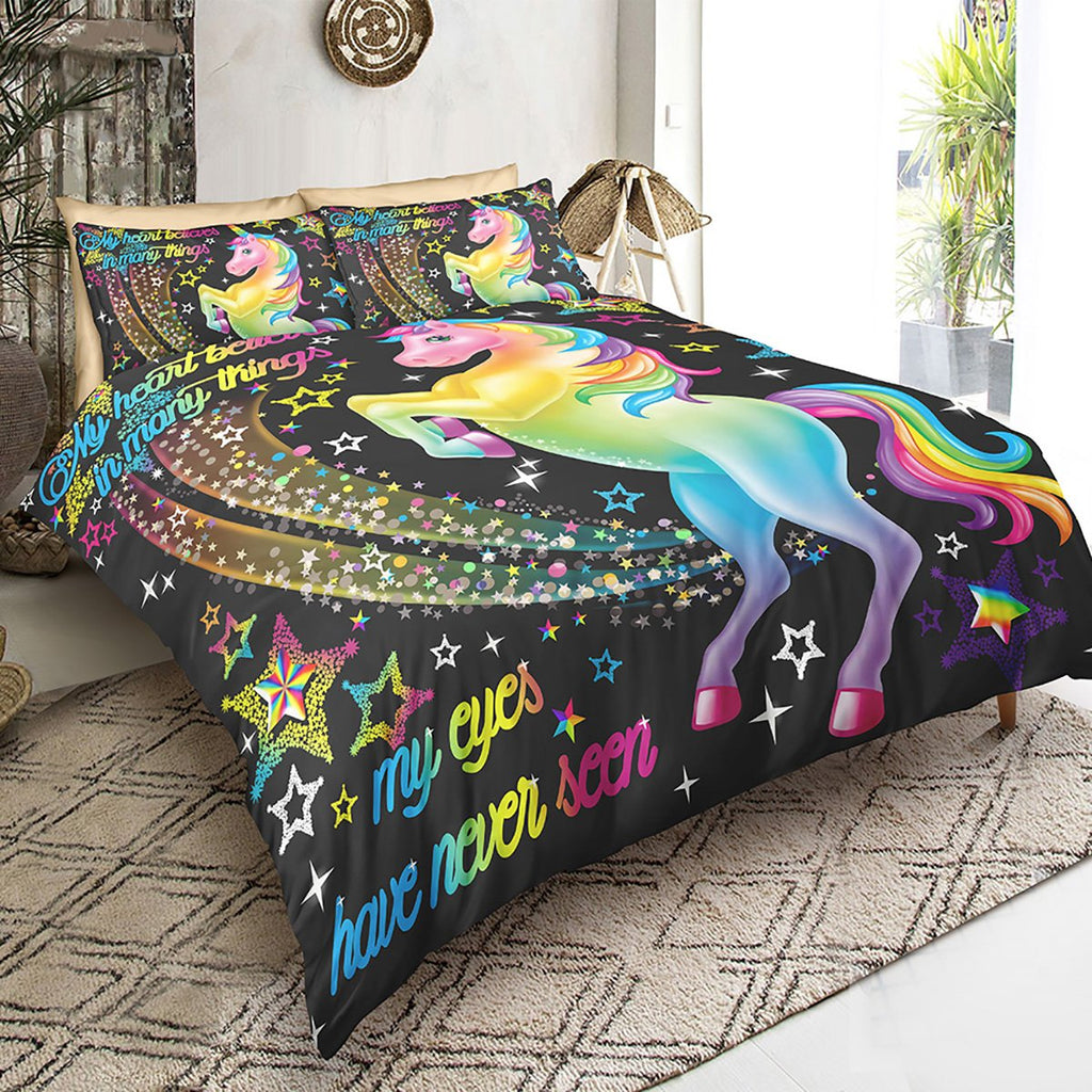 Unicorn Rainbow Stars Bedding Set