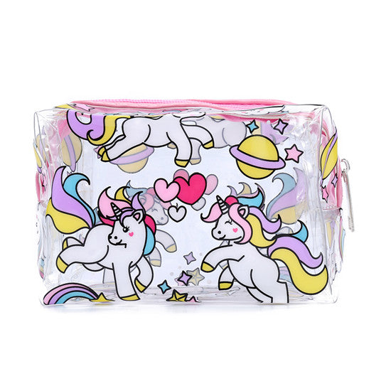 Clear Galaxy Unicorns Makeup Bag